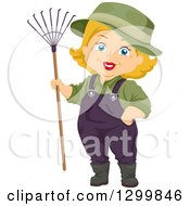 Clipart Of A Cartoon Senior White Woman With A Rake Royalty Free Vector Illustration