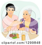 Clipart Of A Cartoon Senior White Woman Being Fed By A Helper Royalty Free Vector Illustration