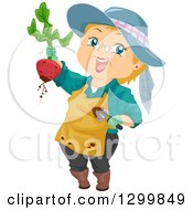 Cartoon Senior White Woman Holding Up A Beet From A Garden