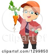 Clipart Of A Cartoon Senior White Woman Holding Up A Carrot From A Garden Royalty Free Vector Illustration