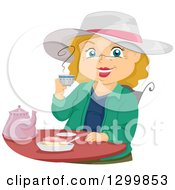Clipart Of A Cartoon Senior White Woman Smiling And Drinking Tea Royalty Free Vector Illustration