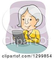 Cartoon Senior White Woman Using A Tablet Computer
