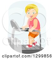Clipart Of A Cartoon Senior White Woman Exercising On A Treadmill Royalty Free Vector Illustration