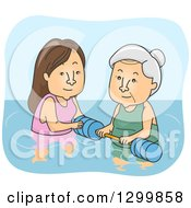 Clipart Of A Cartoon Senior White Woman Getting Help For Water Therapy Royalty Free Vector Illustration by BNP Design Studio
