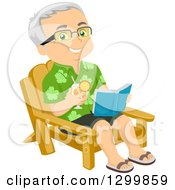 Clipart Of A Cartoon Happy Traveling Senior White Man Holding A Drink And Readng A Book In A Chair Royalty Free Vector Illustration by BNP Design Studio