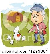 Cartoon Happy Senior White Man Feeding Chickens On A Farm