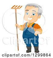 Clipart Of A Cartoon Happy White Senior Male Farmer Or Gardener Standing With A Rake Royalty Free Vector Illustration by BNP Design Studio