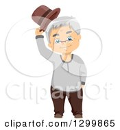 Clipart Of A Cartoon Happy White Male Senior Tipping His Hat Royalty Free Vector Illustration