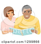 Clipart Of A Brunette White Woman Assisting A Black Male Senior With An Album Royalty Free Vector Illustration