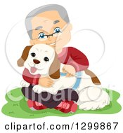 Clipart Of A Happy White Senior Man Sitting In Grass And Hugging His Dog Royalty Free Vector Illustration