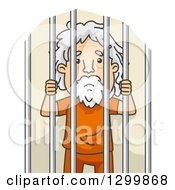 Clipart Of A Cartoon Senior White Man Behind Jail Bars Royalty Free Vector Illustration by BNP Design Studio