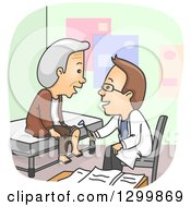 Clipart Of A Cartoon Brunette Male Doctor Checking The Knee Of A Male Senior Patient Royalty Free Vector Illustration