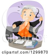 Clipart Of A Cartoon Happy White Senior Businessman Tearing Off His Suit At Retirement Royalty Free Vector Illustration by BNP Design Studio