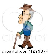 Cartoon Blind Senior White Man Walking To The Left With A Cane