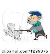 Clipart Of A Cartoon Senior White Man Struggling While Walking His Dog Royalty Free Vector Illustration