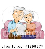 Cartoon Senior White Couple Reading A Page On A Couch