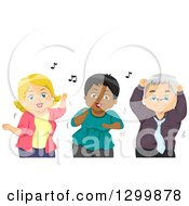 Clipart Of A Cartoon Senior White Man And Women Dancing Royalty Free Vector Illustration