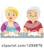 Cartoon Senior White Couple Writing Or Taking Notes In Class