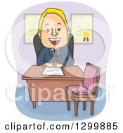 Clipart Of A Cartoon Blond White Male Counselor Or Business Man Seated At His Desk Royalty Free Vector Illustration