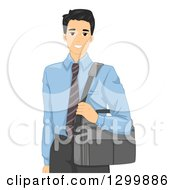 Clipart Of A Handsome Young Asian Businessman Carrying A Laptop Bag Royalty Free Vector Illustration