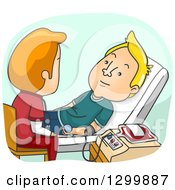 Clipart Of A Cartoon White Male Nurse Helping A Man Donate Blood Royalty Free Vector Illustration