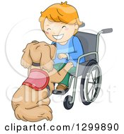 Clipart Of A Cartoon Red Haired White Boy In A Wheelchair Playing With His Assistance Dog Royalty Free Vector Illustration