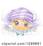 Clipart Of A Cartoon Blond White Bly Flying In The Night Sky In A Dream Royalty Free Vector Illustration