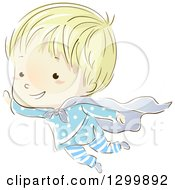 Clipart Of A Sketched Blond White Boy Flying In A Cape And Pajamas In His Dreams Royalty Free Vector Illustration