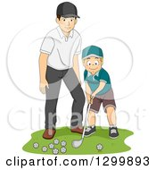 Clipart Of A Happy Caucasian Father Or Coach Teaching A Boy How To Golf Royalty Free Vector Illustration