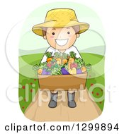 Clipart Of A Cartoon Brunette White Boy Or Man Carrying A Harvest Vegetable Box Royalty Free Vector Illustration