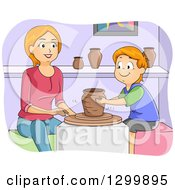 Clipart Of A Red Haired White Boy And Mother Taking A Pottery Class Royalty Free Vector Illustration