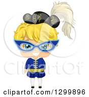 Clipart Of A Cartoon Blond White Girl In A Masquerade Costume Royalty Free Vector Illustration by BNP Design Studio