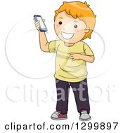 Clipart Of A Cartoon Red Haired White Boy Holding Up A Smart Phone Royalty Free Vector Illustration