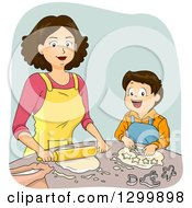 Clipart Of A Brunette White Woman And Son Making Dough And Cookies Royalty Free Vector Illustration by BNP Design Studio