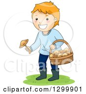 Clipart Of A Red Haired White Boy Picking Wild Mushrooms Royalty Free Vector Illustration by BNP Design Studio