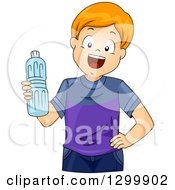 Clipart Of A Happy Red Haired White Boy Holding A Water Bottle Royalty Free Vector Illustration