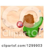 Clipart Of A View Down On A Brunette White Boy Playing In The Sand And Collecting Shells Royalty Free Vector Illustration by BNP Design Studio