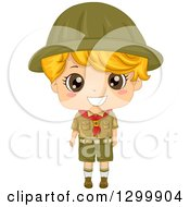 Happy Blond White Boy Scout In Uniform