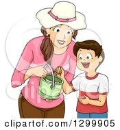 Clipart Of A Brunette White Mother And Son Collecting Sea Shells Royalty Free Vector Illustration