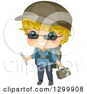 Clipart Of A Blond White Boy Ready With Travel Gear Royalty Free Vector Illustration by BNP Design Studio
