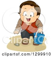 Clipart Of A Brunette White Boy Collecting Sea Shells On A Beach Royalty Free Vector Illustration