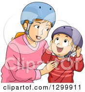 Clipart Of A Red Haired White Mother And Son Putting On Helmets Royalty Free Vector Illustration