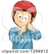 Clipart Of A Brunette White Boy Fastening A Helmet Royalty Free Vector Illustration