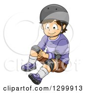 Clipart Of A Brunette White Boy In A Helmet Fastening Knee Pads Royalty Free Vector Illustration