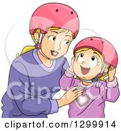 Clipart Of A Blond White Mother And Daughter Putting On Helmets Royalty Free Vector Illustration