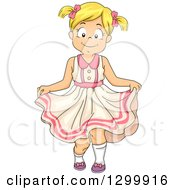Clipart Of A Happy Blond White Girl Curtseying In A Dress Royalty Free Vector Illustration