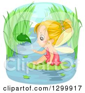 Clipart Of A Blond White Fairy Girl Catching A Droplet From A Leaf And Sitting On A Water Lily Pad Royalty Free Vector Illustration by BNP Design Studio