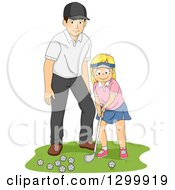 Clipart Of A Blond White Girl Getting A Golf Lesson From A Coach Or Her Dad Royalty Free Vector Illustration by BNP Design Studio