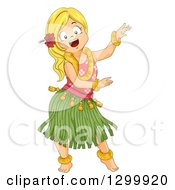 Clipart Of A Blond White Hula Dancer Girl Royalty Free Vector Illustration