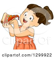 Clipart Of A Brunette White Girl About To Eat A Slice Of Pizza Royalty Free Vector Illustration by BNP Design Studio